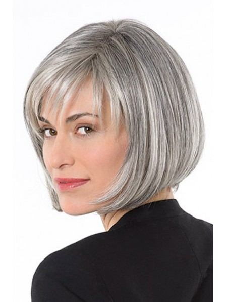 Lace Front Mono Grey Straight Synthetic Hair Wig