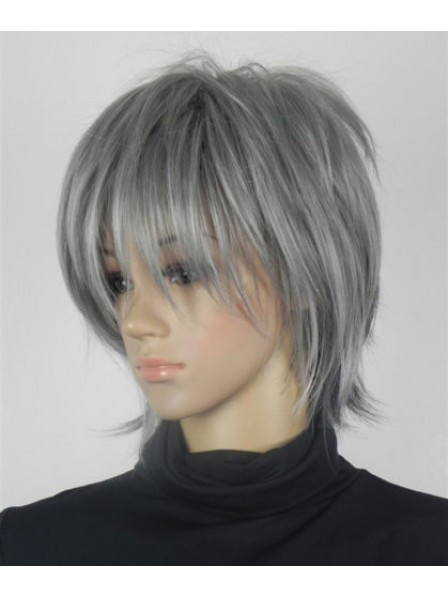 Timeless Excellent Grey Short Straight Synthetic Wigs