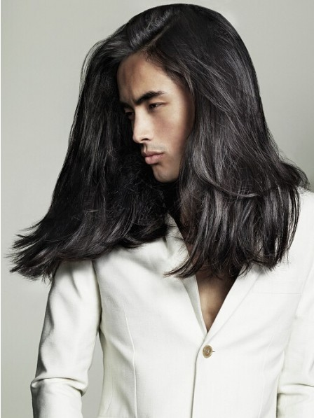Cool Long Wavy Synthetic Lace Front Mono Top Mens Hair Wig