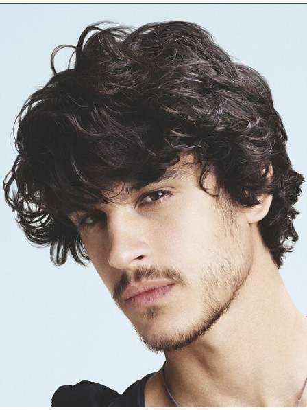 Short Capless Synthetic Wavy Mens Hairstyle Wig