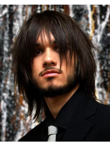 Human Hair Layered Mens Shoulder Length Straight Wig
