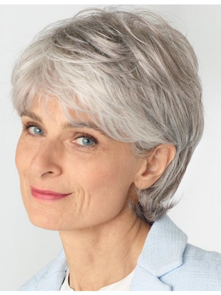 Old Ladies Synthetic Grey Wig With Side Bangs