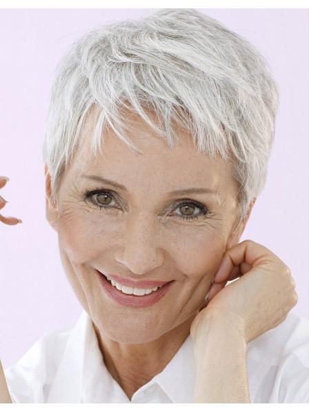 Older Ladies Pixie Cut Grey Hair Wig