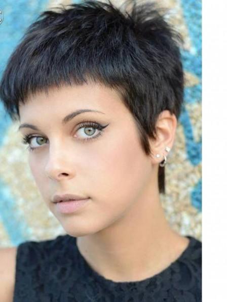 Pixie Cut Black 100% Human Hair Lace Front Wigs