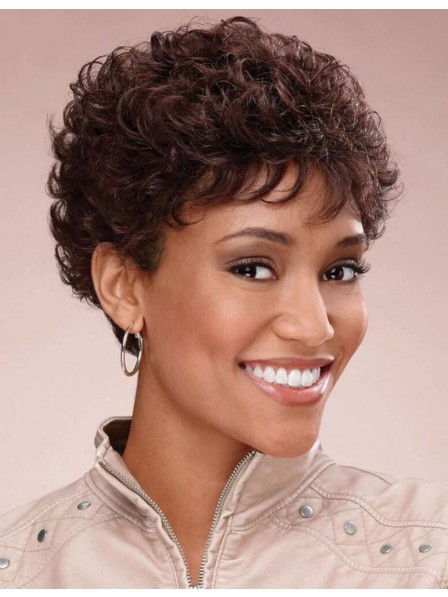 Modern Pixie Short Brown Curly hairstyle Synthetic Petite Wigs