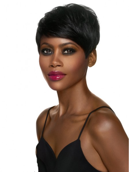 Popular Lace Front Pixie Cut Straight 100% Human Hair Wigs Fast Ship