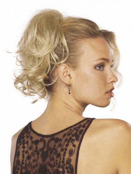 """8"""" Wavy Blonde Heat Friendly Synthetic Hair Claw Clip Ponytails"""