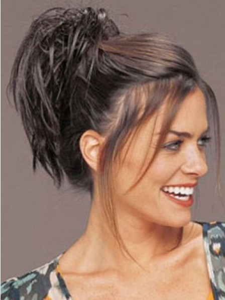 """7"""" Straight Black Heat Friendly Synthetic Hair Claw Clip Ponytails"""