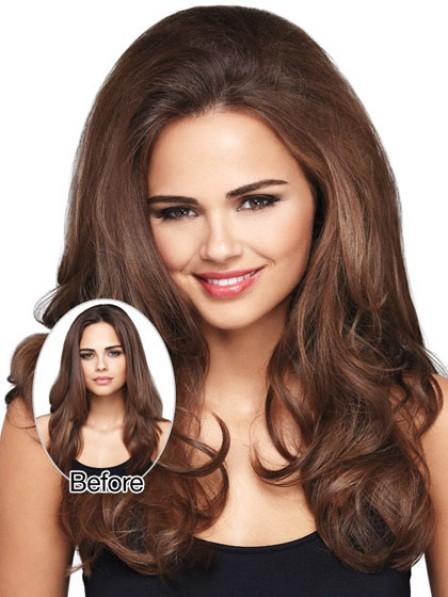 """Cheap 18"""" Wavy Brown Human Hair Hair Pieces"""