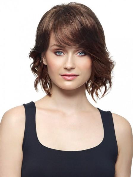 "8"" Wavy Brown 100% Human Hair Lace Hair Pieces"