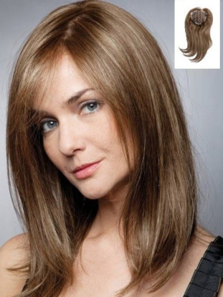 """Popular 16"""" Straight 100% Human Hair Toppers for Women"""