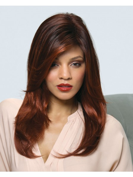 Cheap Red Long Staright Capless Synthetic Hair Wigs