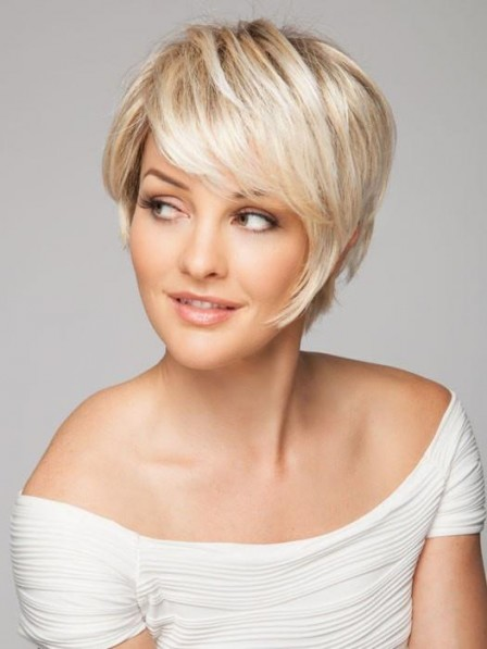 Classic Short Croped Blonde Synthetic Hair Straight Wig