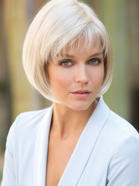 Smooth Chin Length Grey Bob Wig with Fringe Synthetic Hair