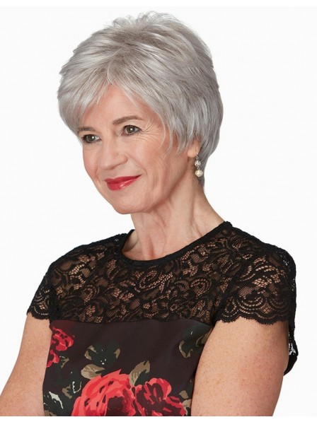 New Short Pixie Cut Grey Wig For Older Ladies