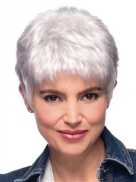 Trendy Straight Pixie Silver Grey Hair Wig