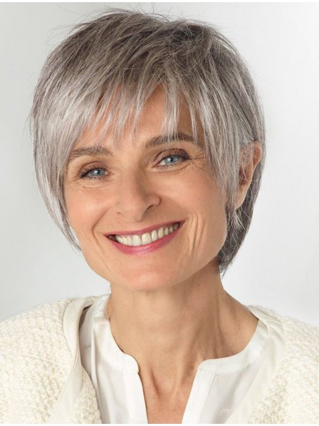 Short Straight Older Laides Grey Hair Wig