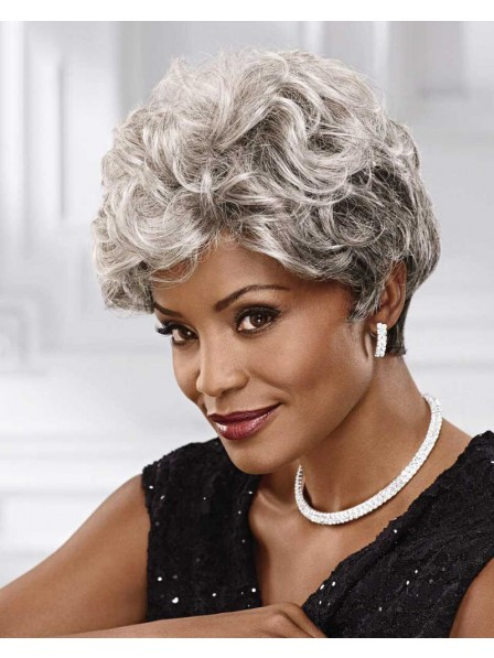 Short Wavy Heat-Resistant Grey Wig With Layers