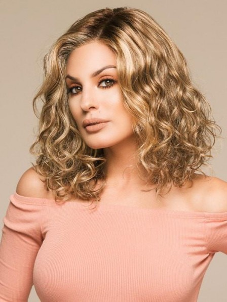 Affordable Shoulder Length Synthetic Lace Front Wigs for Ladies
