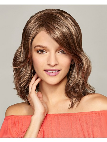 Fashion Shoulder Length Monofilament Top Wig with Lace Front