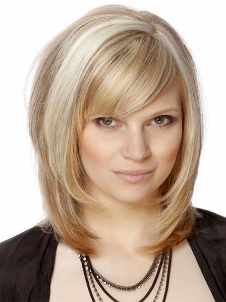 Shoulder Length Synthetic Blonde Bob Wigs Lace Front