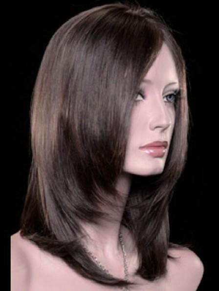 Sleek Lace Front Medium Length Heat Friendly Synthetic Hair Wigs