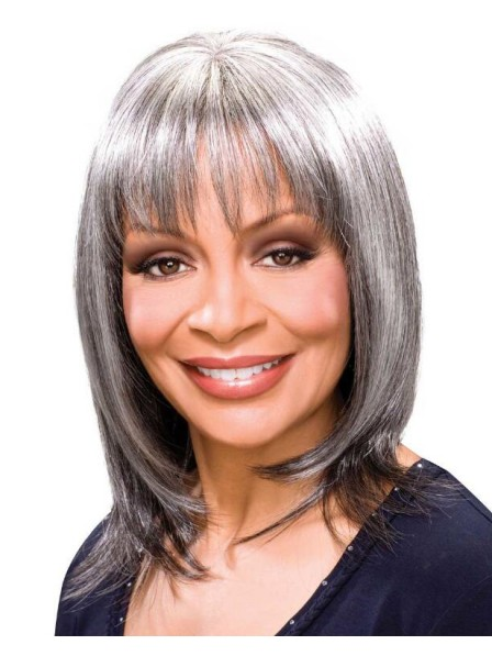 Sleek Long Salt and Pepper Wigs With Layers In Heat-Stylable Fiber