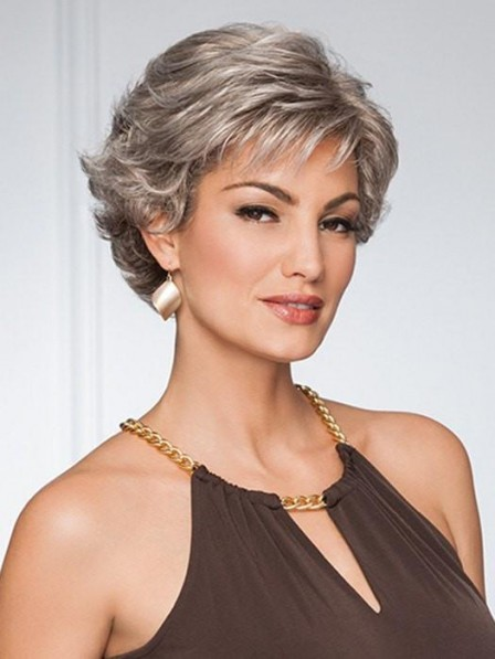 Modern Ladies Cropped Soft Layers Short Grey Wigs