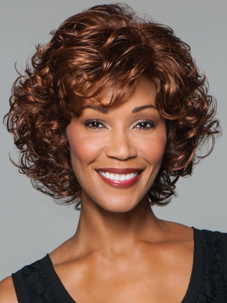 Softly Curled Layers Brown Black Women Afro Wigs