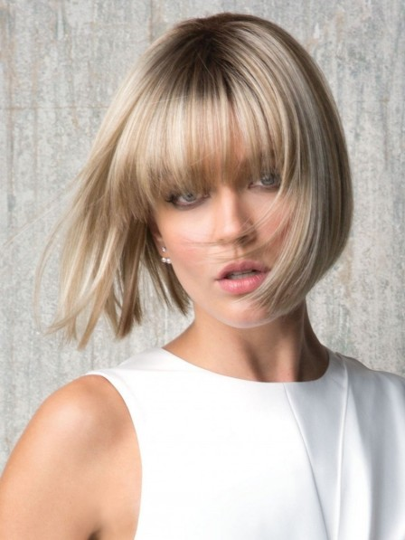 Amazing Straight Bob Chin Length Synthetic Wig with Bangs