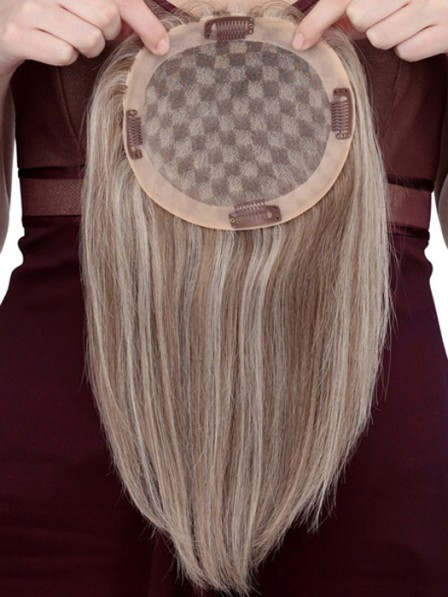 Sunny Blonde Human Hair Mono Top Piece for Hair Loss