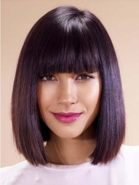 Popular Bob Smooth Hairstyles Wig With Full Bangs