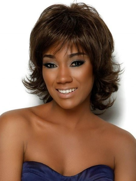 Discounted Synthetic Layered Medium Afro Wigs for Black Women