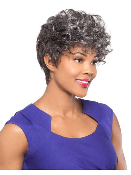 Affordable Trendy Capless Crop-Style Wig for Old Women