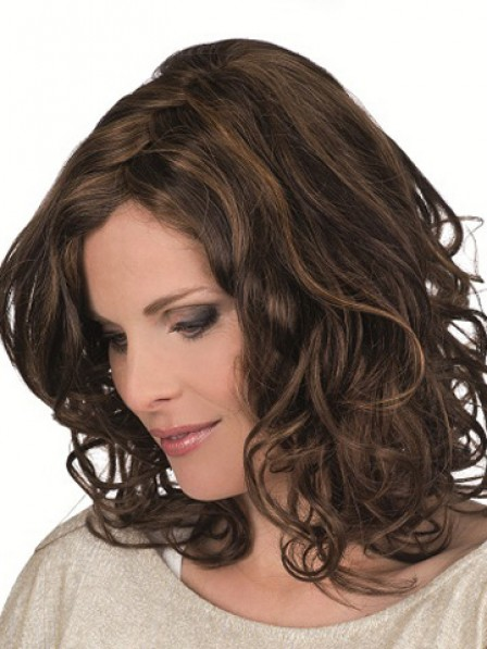 100% Hand-tied Lace Front Shoulder Length Human Hair Wig Mono Top