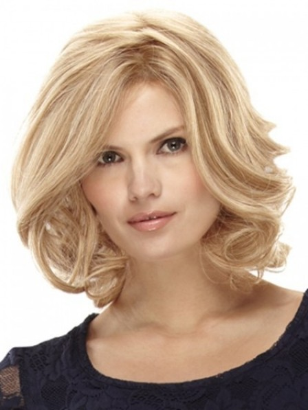 Stunning Lace Front Human Hair Blonde Wavy Monofilament Wig