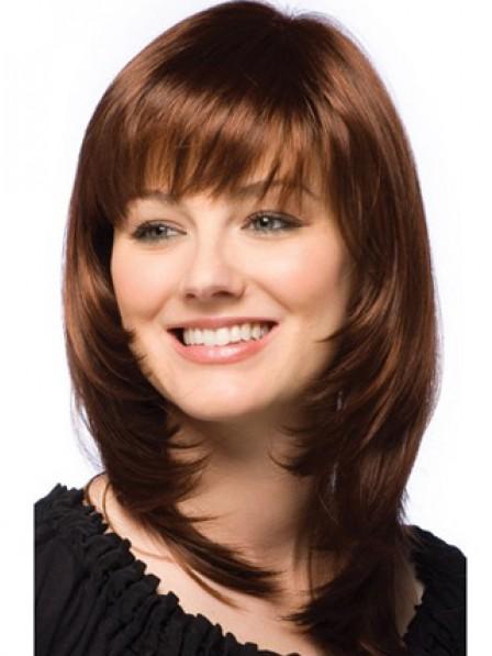 Cute Layered Shoulder Length Straight Human Hair Monofilament Wig
