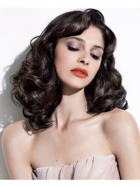 Natural Looking Classic Human Hair Lace Front Wavy Wigs For White Women