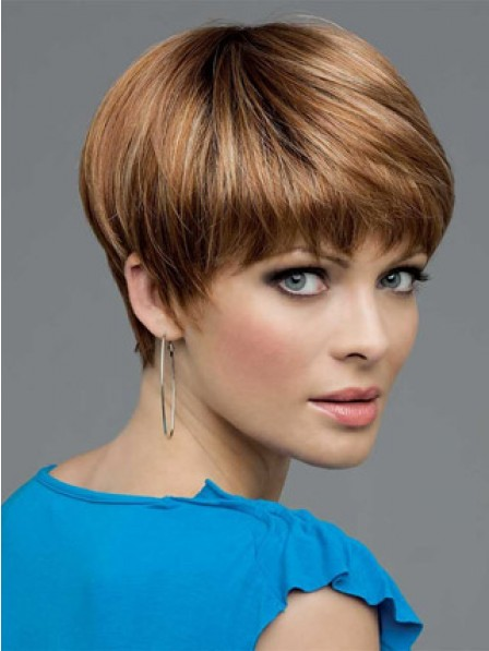 Nice Synthetic Straight Cropped Boycuts Hair Wig With Bangs