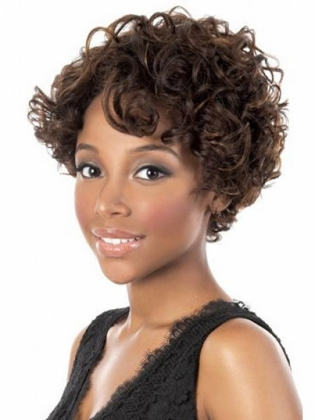 Pretty Curly Human Hair with Capless Wigs Fast Ship