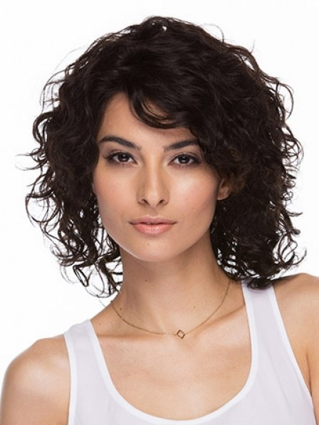 Cute Ladies Comfortable Shoulder Length Curly Lace Front Wigs Stores