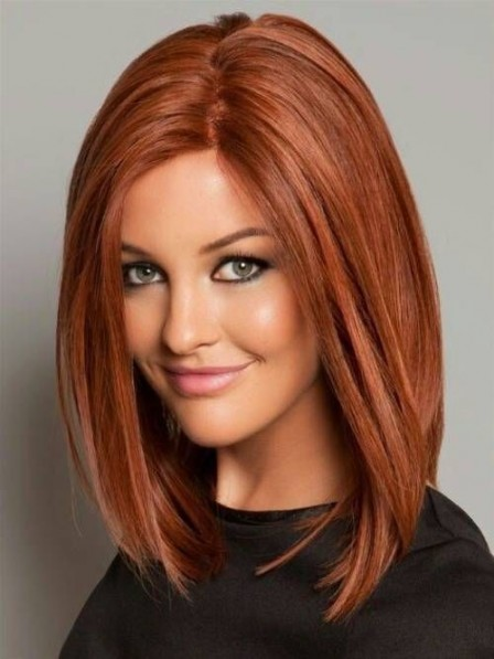 Fabulous Lace Front Medium Striaght Human Hair Wig for White Women