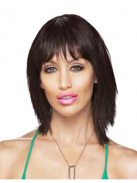 Fashion Women's Capless Mid-Length Striaight Human Hair Wigs