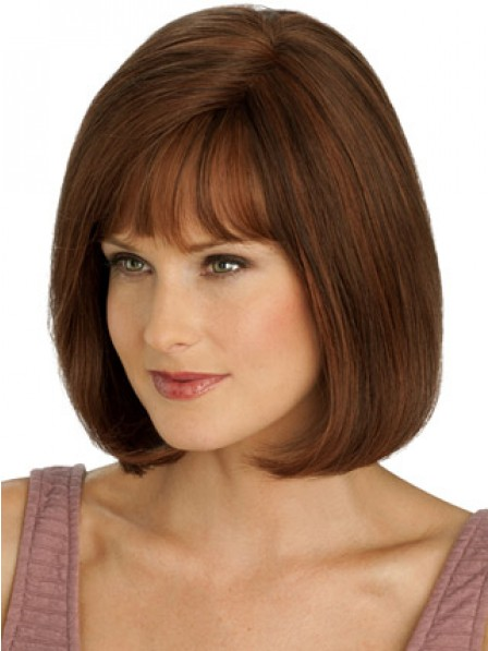 New Arrival 100% Hand-tied Lace Front Bob Straight Wig With Full Bangs on Sale