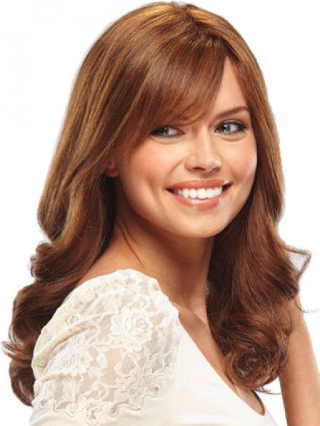 Best Lace Front Long Wavy Human Hair Wig With Side Bangs