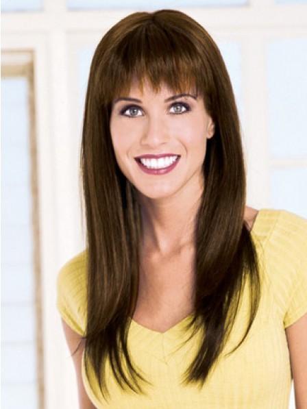Fabulous Long Straight Human Hair Wigs With Full Bangs For Women
