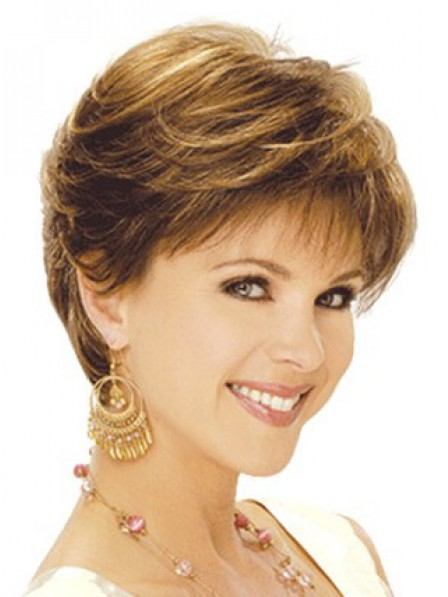 Popular New Synthetic Short Wavy Women Wig With Bangs