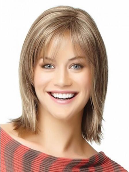 Pretty Ladies Human Hair Straight Capless Hair Wig With Bangs