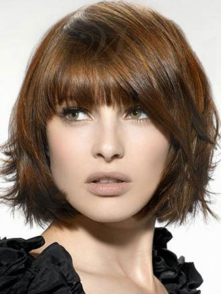 Synthetic Chin Length Straight Capless Women Wig With Full Bangs 2019