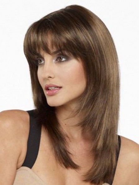 Hot Shoulder Length Straight Human Hair Wig With Bangs For Women Over 40